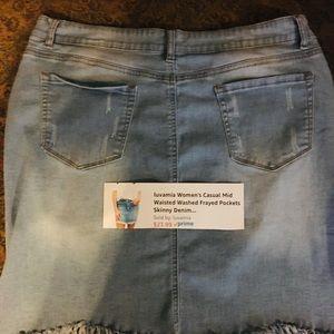 Denim Frayed Skirt